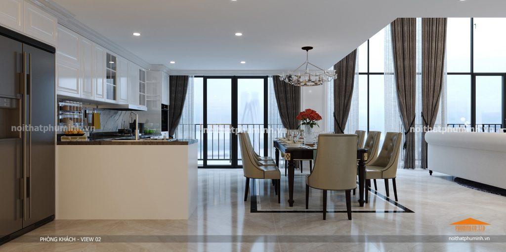 Thiết kế nội thất phòng khách Duplex Pentstudio Tây Hồ